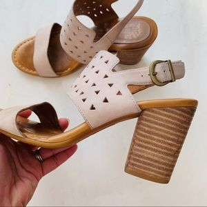BORN blush leather block heel laser cut sandal 8